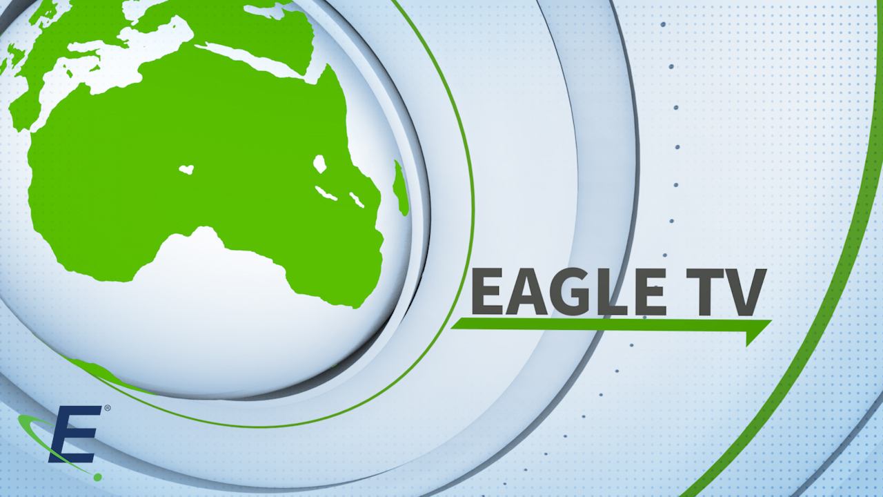 "A graphic displaying a world map. The Eagle ""E"" Logo. The words ""Eagle TV"" underlined"