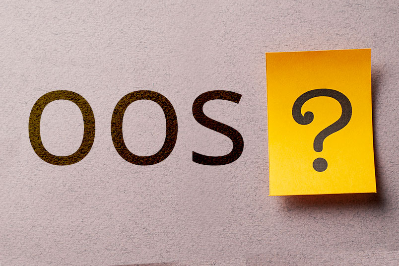 The letters OOS on a brown textured background with a yellow post it next to it that has a question mark