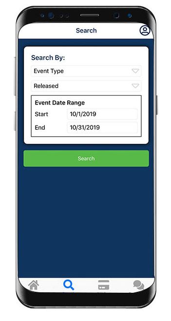 A screenshot of the EagleTrax App Search Screen