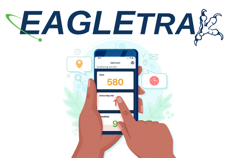 An illudation of a person's hand holding a phone with EagleTrax App on the screen