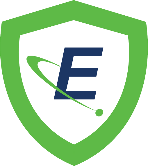 "A green shield outline with the Eagle ""E"" logo"