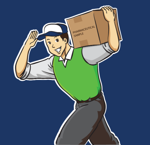 Cartoon delivery person waves as he carries a box of samples.