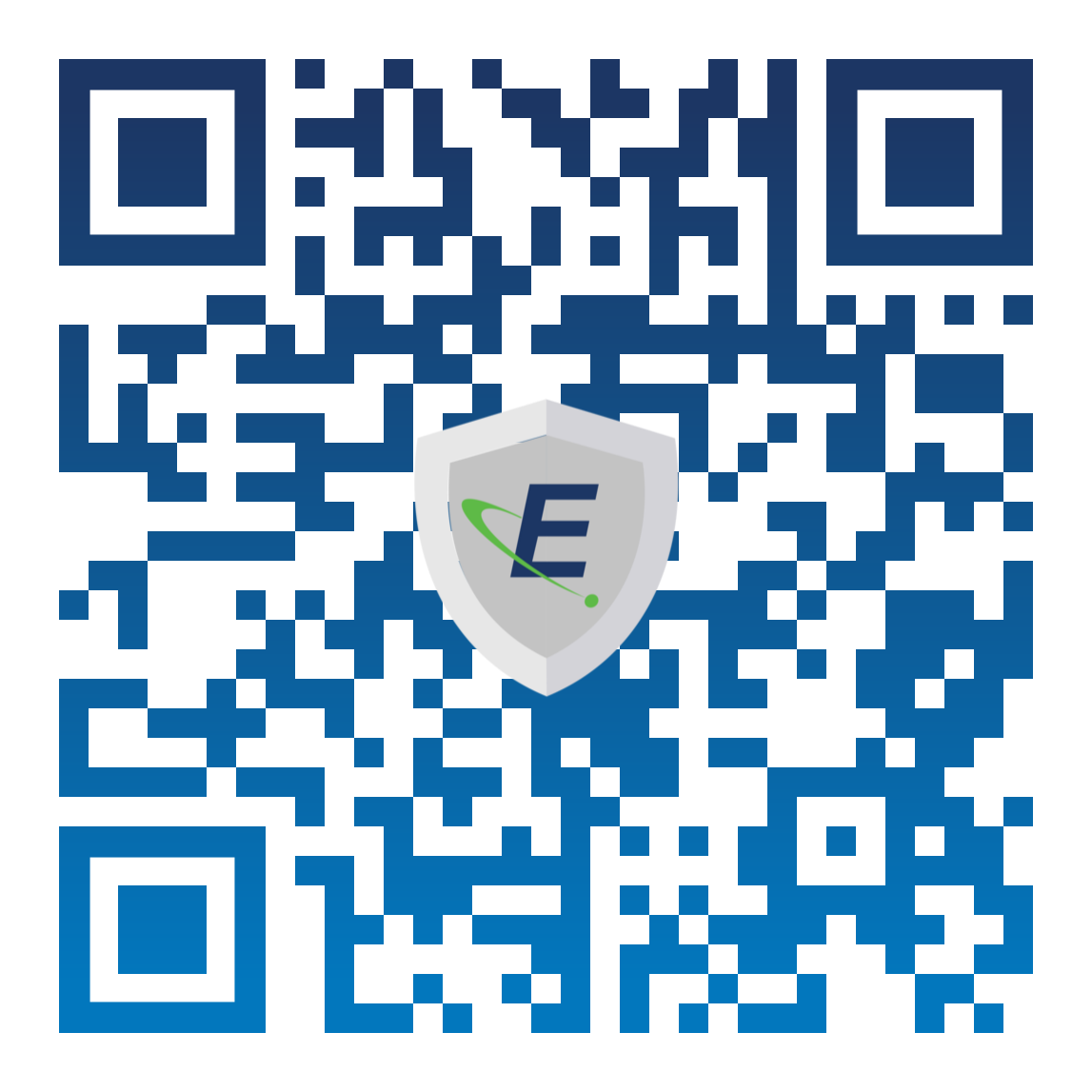 Custom QR-Code with a centered EagleShield Logo on top. QR codes leads to EagleAnalytical.com/shop